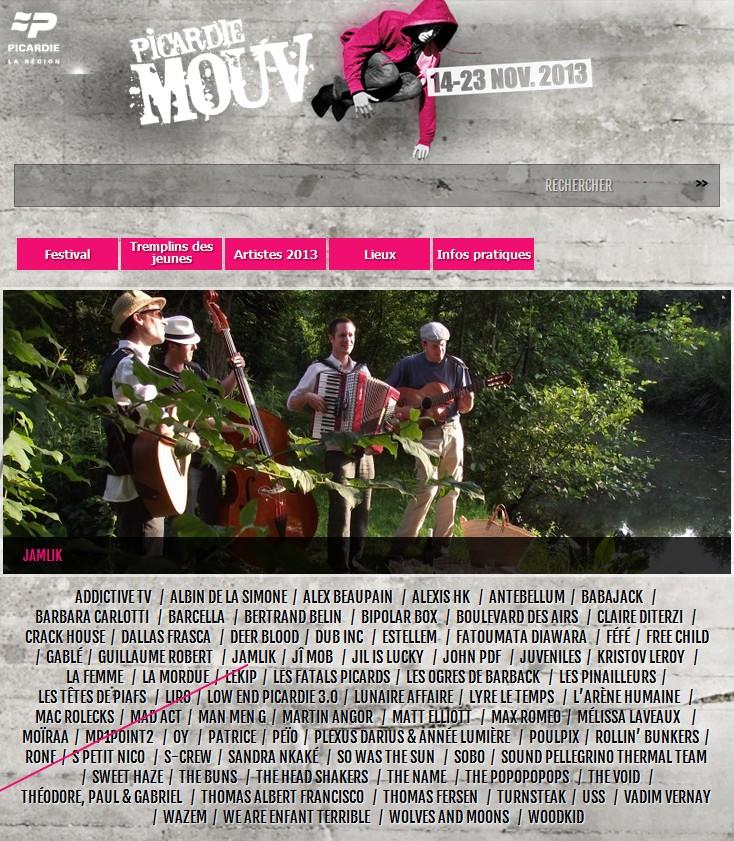 chanson française Festival Picardie Mouv Jamlik concert